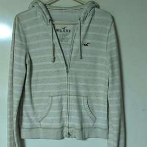 Hollister tan striped hoodie